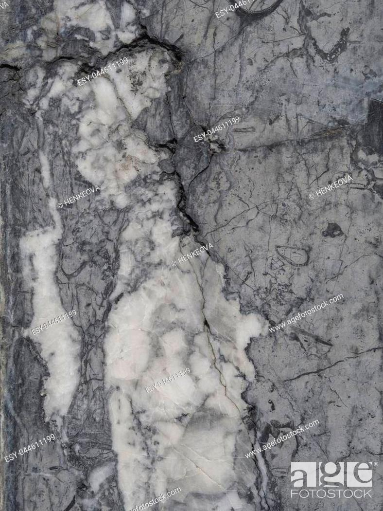 Stock Photo: black white grey polished granite marble stone wall - background structure.