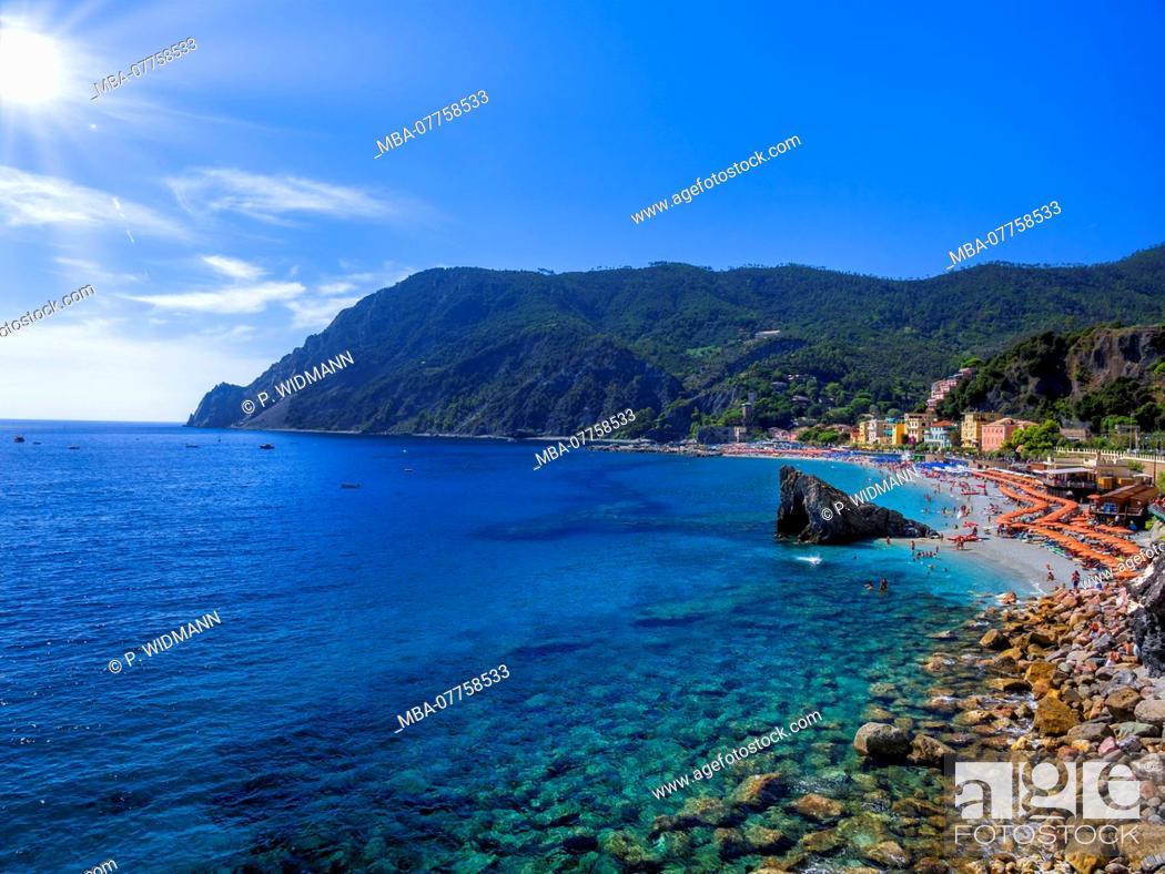 Stock Photo: Beach of Monterosso Al Mare, Cinque Terre, Riviera di Levante, province of La Spezia, Liguria, Italy, Europe.