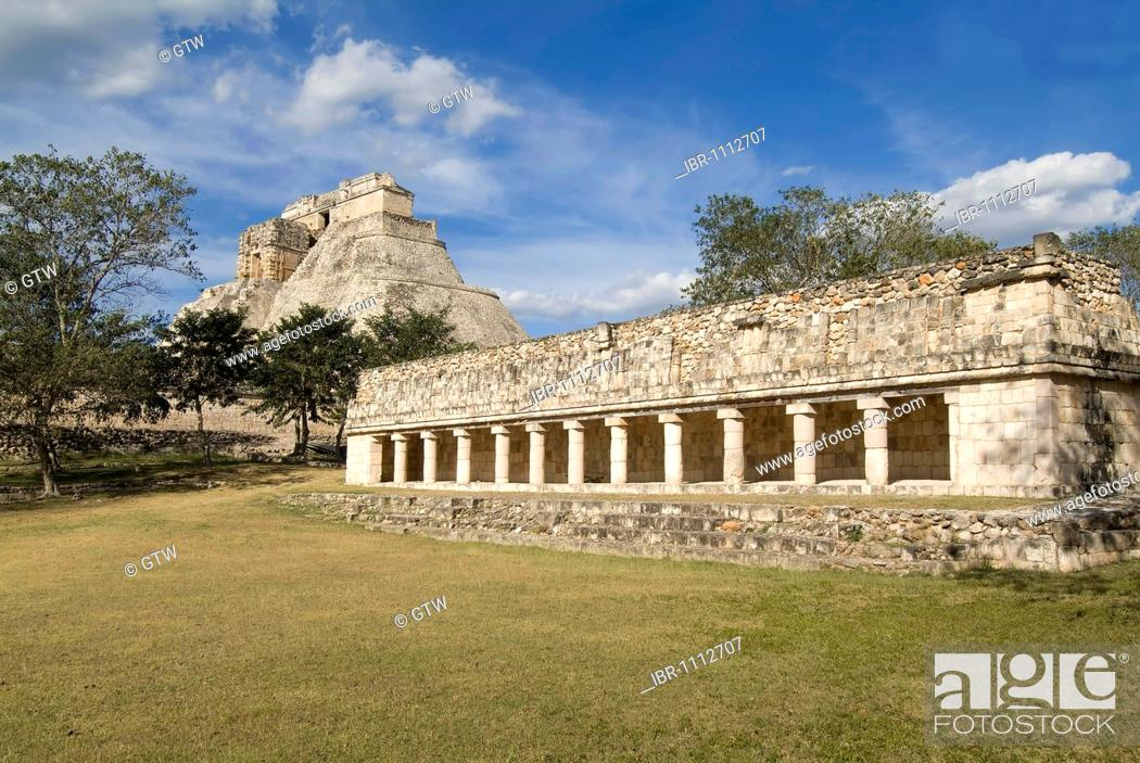 Stock Photo: Uxmal, UNESCO World Heritage Site, Adivino pyramid or Pyramid of the Magician, Yucatan, Mexico.