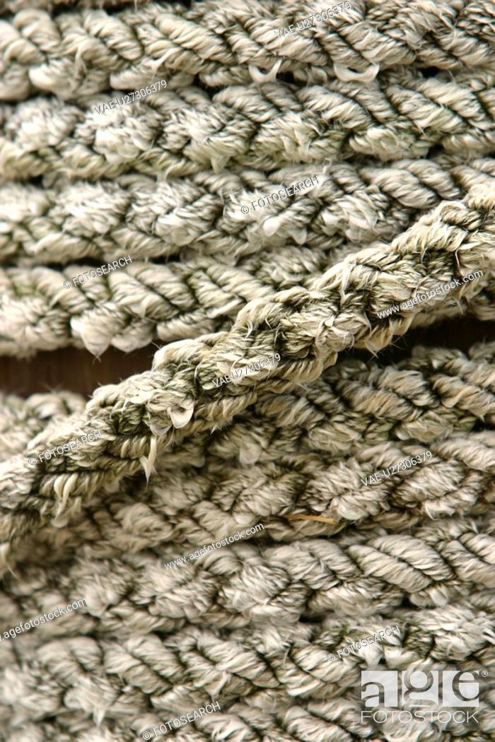 Stock Photo: ropes, braided, dock, industrial, random, detail.