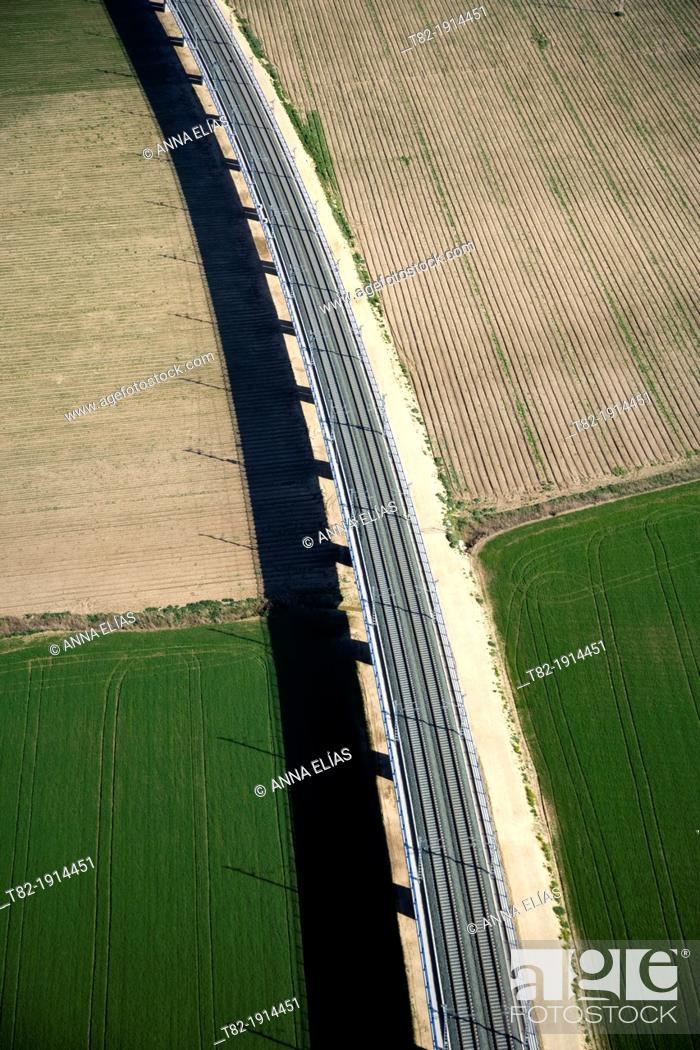 Stock Photo: aerial view of train tracks and cultivated fields, Cadiz, Spain, Europe.