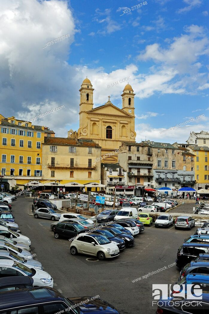 Stock Photo: Old Port with St Jean Baptiste Cathedral, Bastia, Corsica, France.