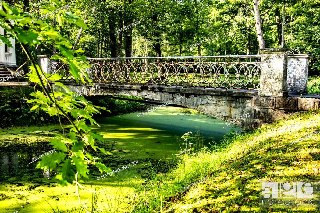 Imagen: Old bridge of a damaged coffee pavilion at Kemeri National Park, Latvia, Baltic States, Europe.