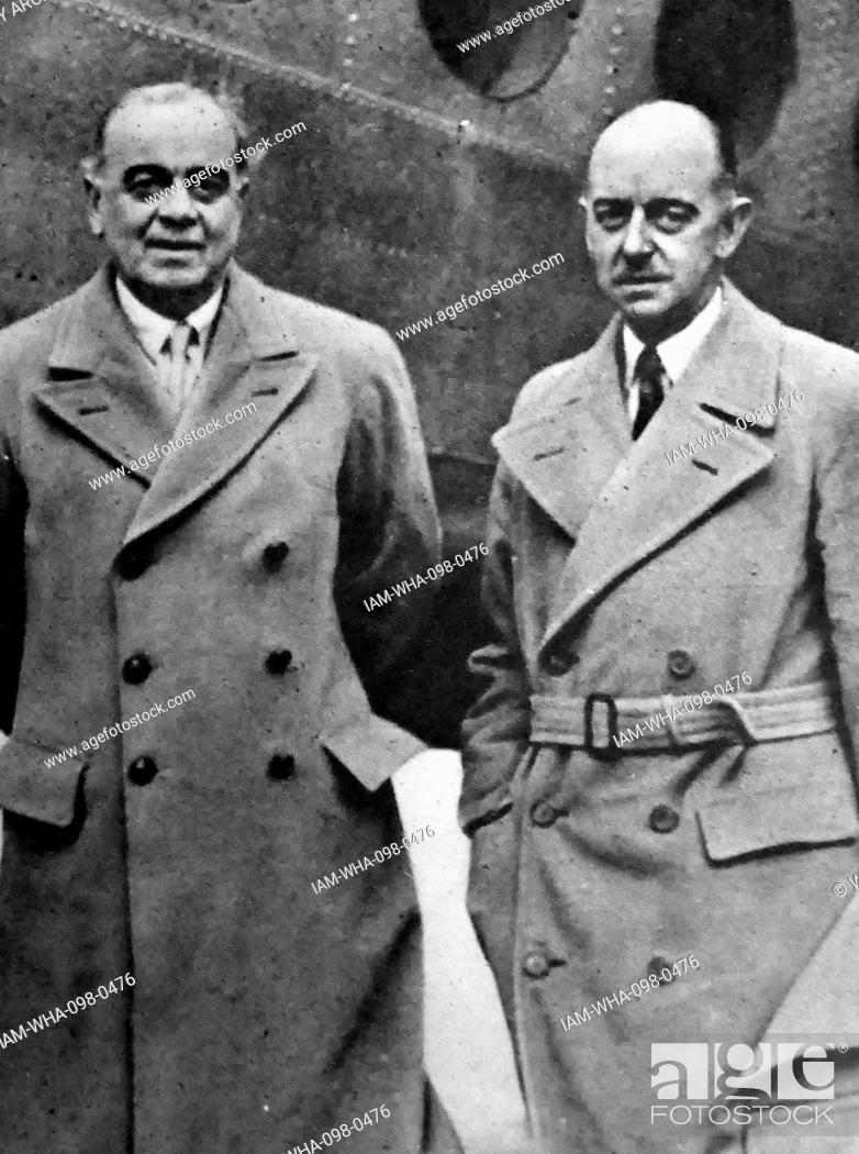 Stock Photo: Lord Ismay and Sir Eric Mieville 1946. Sir Eric Charles Mieville, was a senior British civil servant who served as Assistant Private Secretary to George VI from.