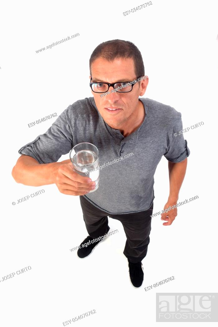 Stock Photo: man with a glass of water on white background.