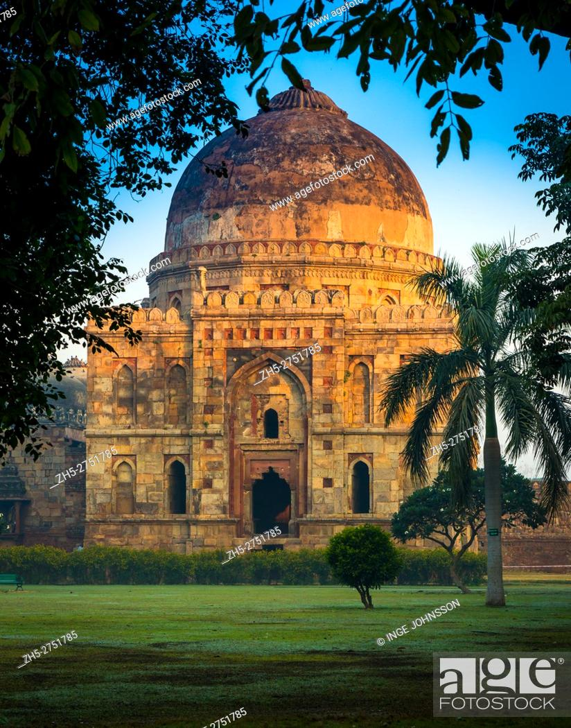 Stock Photo: Lodi Gardens is a park in Delhi, India. Spread over 90 acres, it contains, Mohammed Shah's Tomb, Sikander Lodi's Tomb, Sheesh Gumbad and Bara Gumbad.