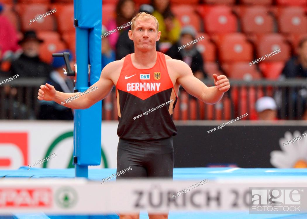 Stock Photo: Arthur Abele of Germany competes in the Pole Vault event of the Decathlon competition at the European Athletics Championships 2014 at the Letzigrund stadium in.