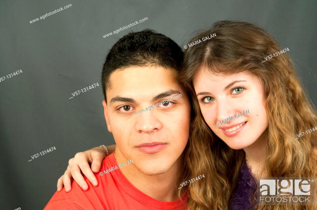 Stock Photo: Young couple looking at the camera.
