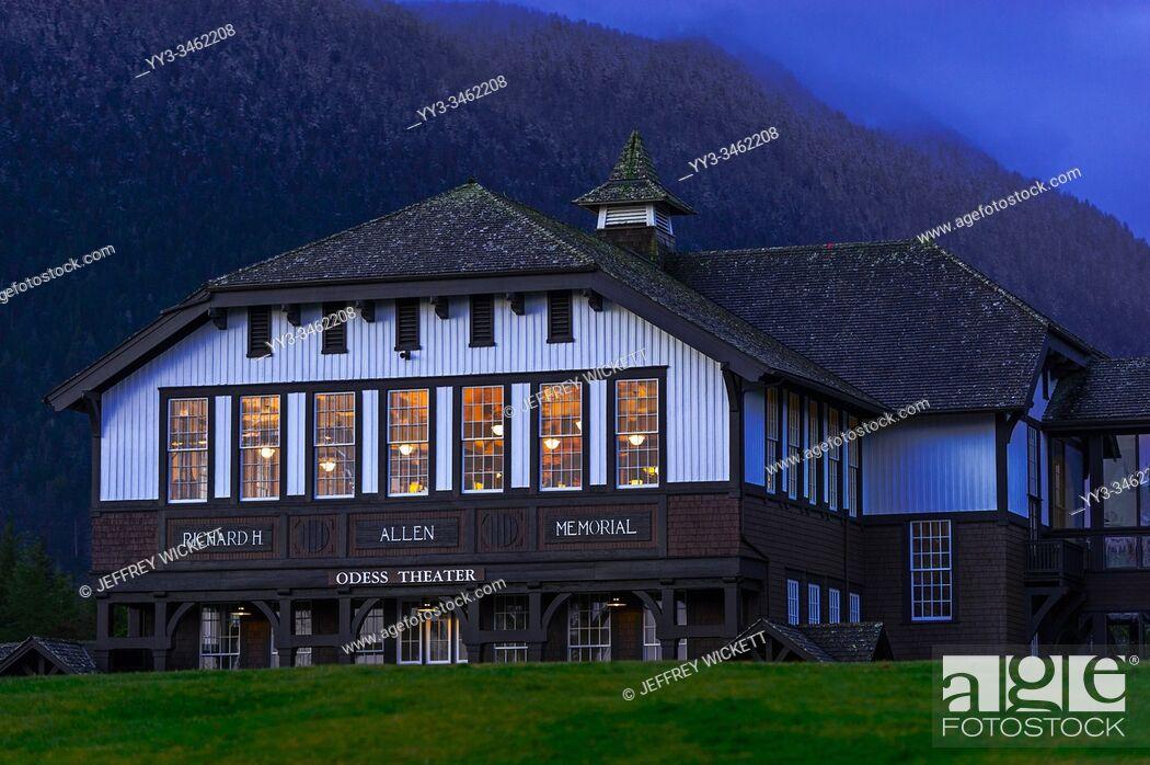 Stock Photo: Allen Auditorium on the campus of the old Sheldon Jackson College in Sitka, Alaska, USA.