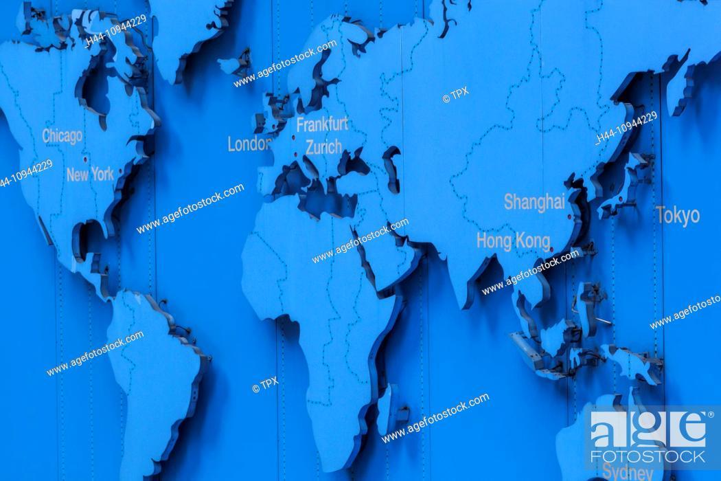 China Hong Kong Hongkong World Map Showing Main Financial Centres