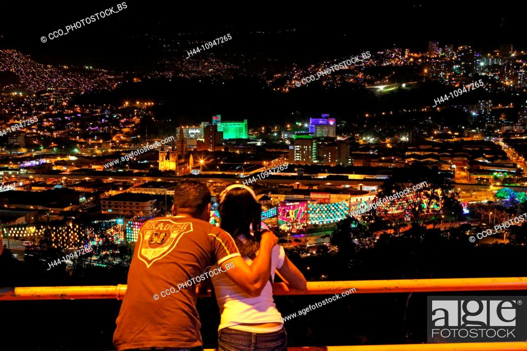 Christmas In Colombia South America.Colombia South America Medellin Night Night Shot Couple