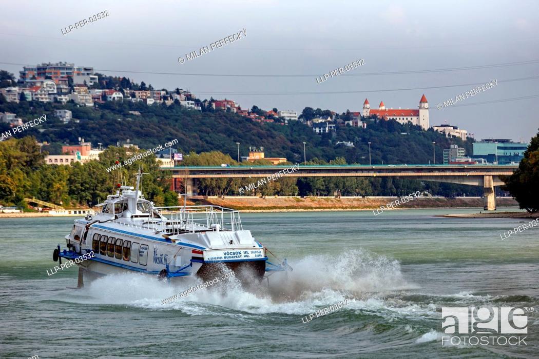 Stock Photo: Vostok ship on the Danube, Bratislava, Slovakia.