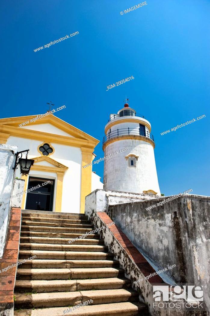 Stock Photo: China, Macou, Guia Lighthouse, Guia Chapel, UNESCO, World Cultural Heritage.