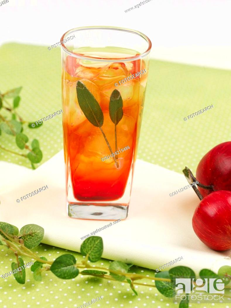 Stock Photo: decoration, leaf, food styling, table mat, tablecloth, pomegranate, glass cup.