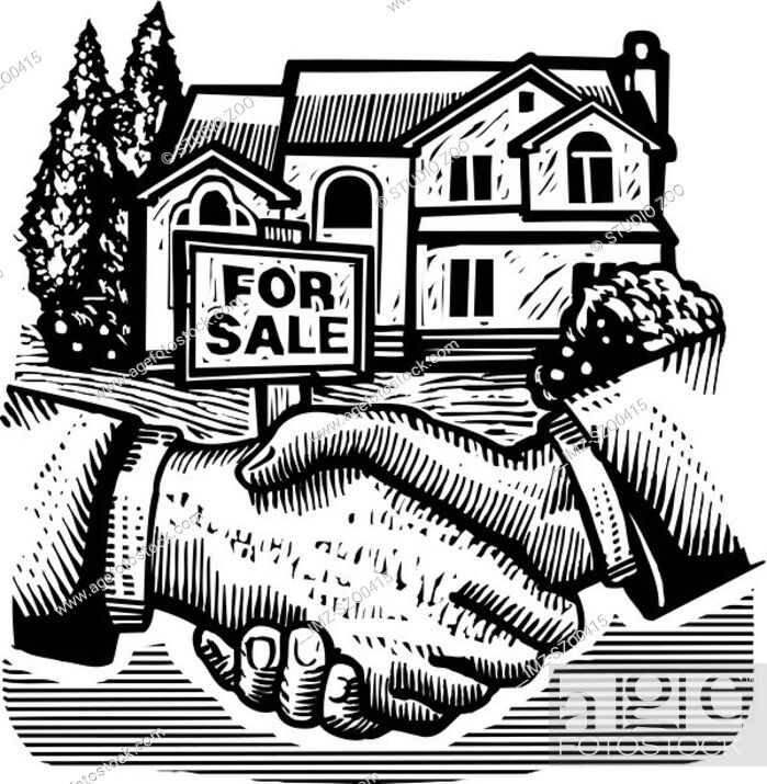 Stock Photo: Shaking hands in front of a real estate sold sign, black and white.