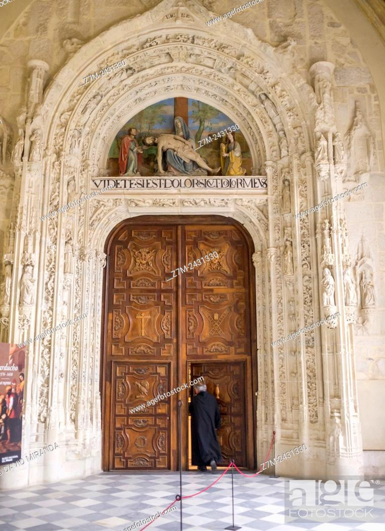 Stock Photo: Entrance door to the church, Monastery of Santa María del Paular, Rascafría, Sierra Norte, Parque Nacional de la Sierra de Guadarrama. Madrid, Spain.
