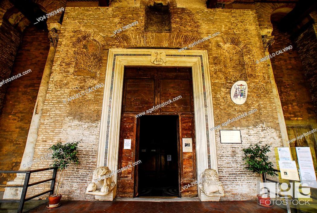 Stock Photo: The Entrance to the Chiesa di San Giovanni e Paolo, Rome, Italy, Europe.