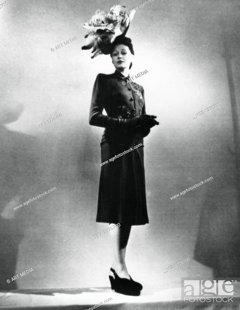 La Femme Chic Outfit By The French Fashion Designer Jacques Fath Paris January 1943 Stock Photo Picture And Rights Managed Image Pic Hez 1276700 Agefotostock