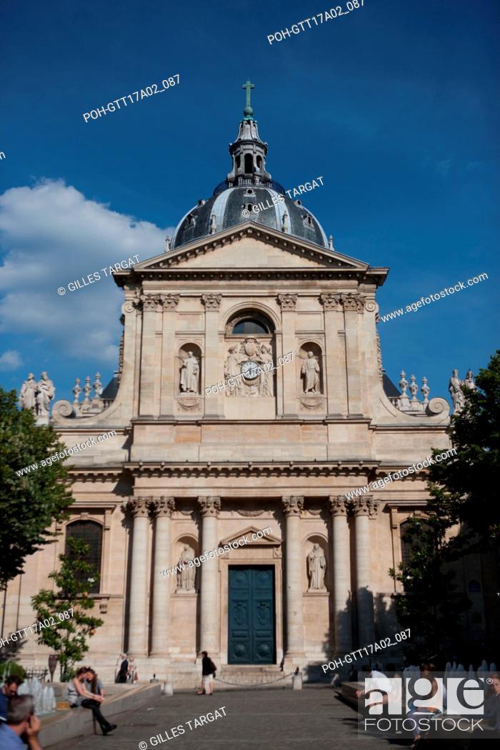 Stock Photo: France, Ile de France region, Paris, place de la sorbonne, facade of the Sorbonne Chapel, boulevard Saint Michel, Photo Gilles Targat.