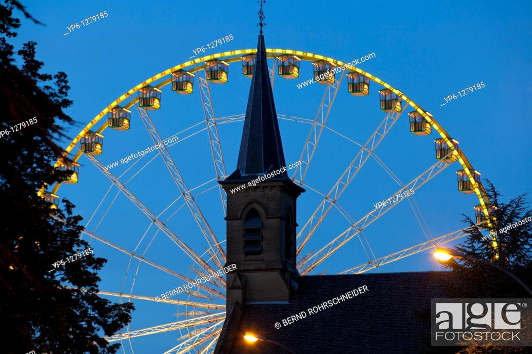 Stock Photo: church and Ferris wheel at night, Luxembourg.