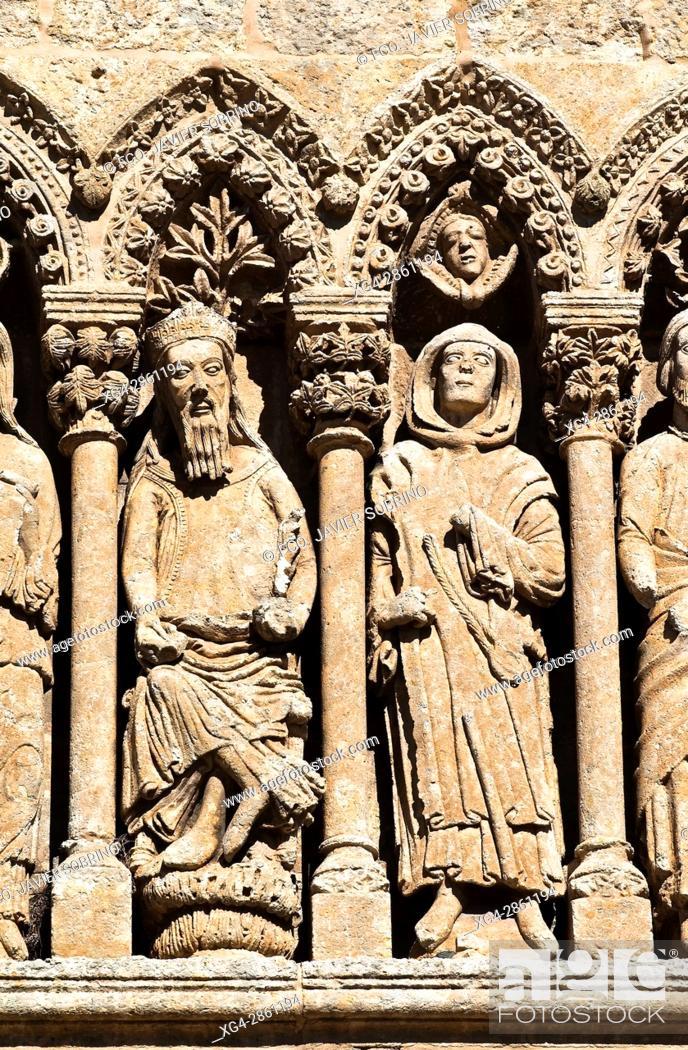 Stock Photo: Puerta de las Cadenas, de estilo románico en transición al gótico - Personajes del Antiguo Testamento - Catedral de Santa María - Ciudad Rodrigo - Salamanca -.