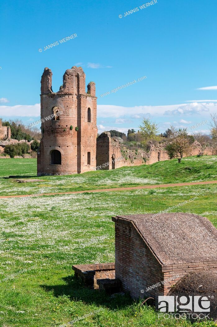 Stock Photo: Ruins of the Circus of Maxentius lie in the spring sun along the ancient Appian Way in Rome, Italy.