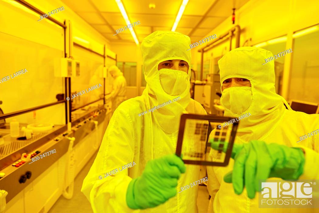 Stock Photo: Photomask, Photolithography Room, Photolithography mask. Cleanroom. Nanotechnology. Laboratory. CIC nanoGUNE Nano science Cooperative Research Center.