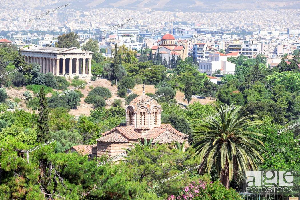 Stock Photo: Temple of Hephaestus and the city of Athens, Athens, Greece.