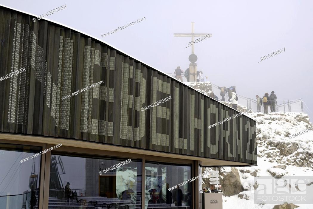 Stock Photo: Nebelhorn summit 2224m, restaurant at fresh snow, Allgäu Alps, Allgäu, Bavaria, Germany, Europe.