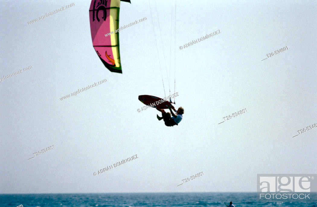 Stock Photo: Kite-surfing. Tarifa, Cádiz province, Andalusia, Spain.