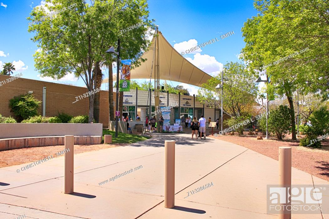 Stock Photo: People outside the entrance to Reid Park Zoo in Tucson, arizona.