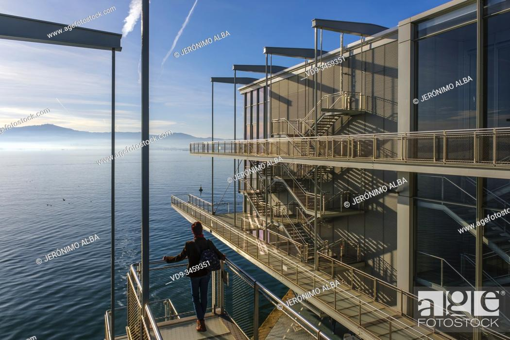Stock Photo: Botin Center Modern museum Art and Culture. Botin Foundation, architect Renzo Piano. Santander, Cantabrian Sea. Cantabria, north Spain. Europe.