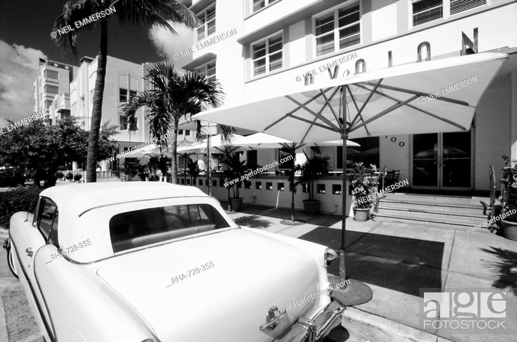 Stock Photo 1950 S Car Outside The Avalon Hotel South Beach Miami