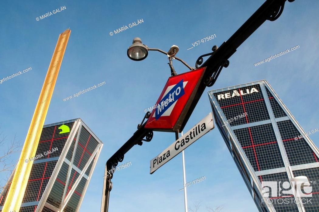 Stock Photo: Metro Plaza de Castilla entrance, Calatrava obelisk and KIO Towers. Madrid, Spain.