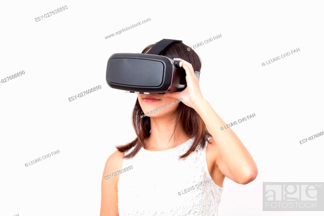 Stock Photo: Woman watching though VR.