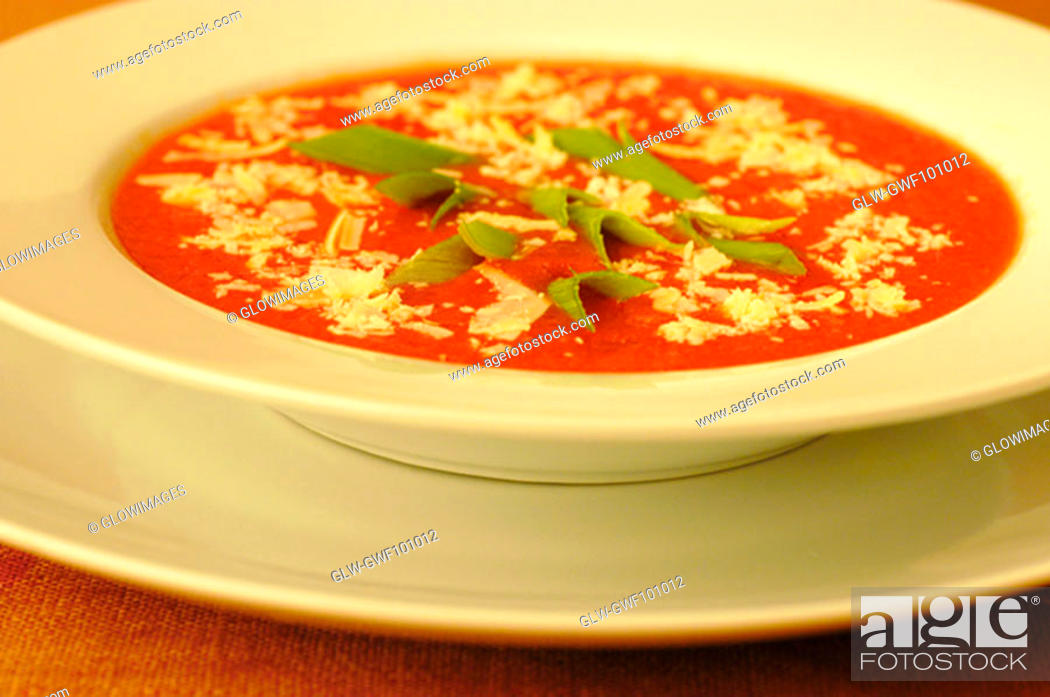 Stock Photo: High angle view of a bowl of soup.