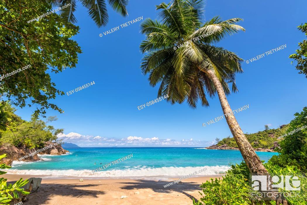 Stock Photo: Dream Seascape Coast - Sunny day on fantastic Anse Major beach, Mahe island, Seychelles. Summer holiday concept.