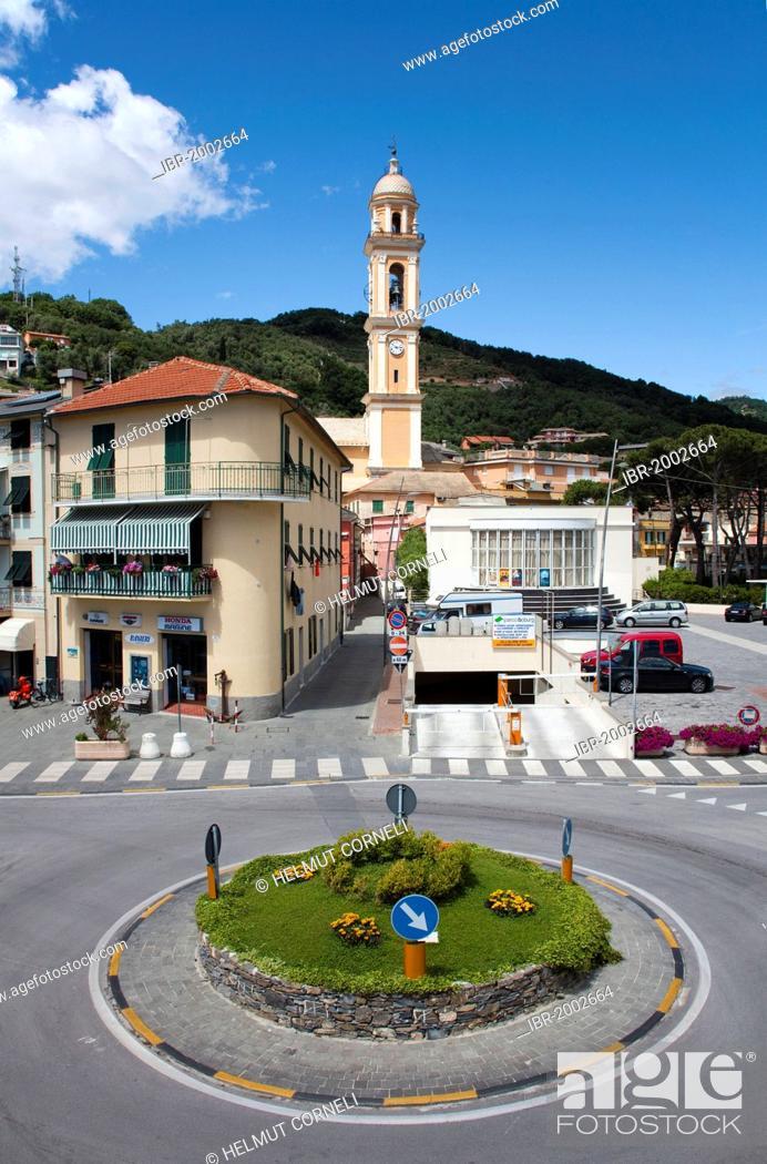 Stock Photo: Village view, roundabout, belfry of the church of Santa Croce, 18th century, old town, Moneglia, Genoa Province, Liguria, Italian Riviera or Riviera di Levante.