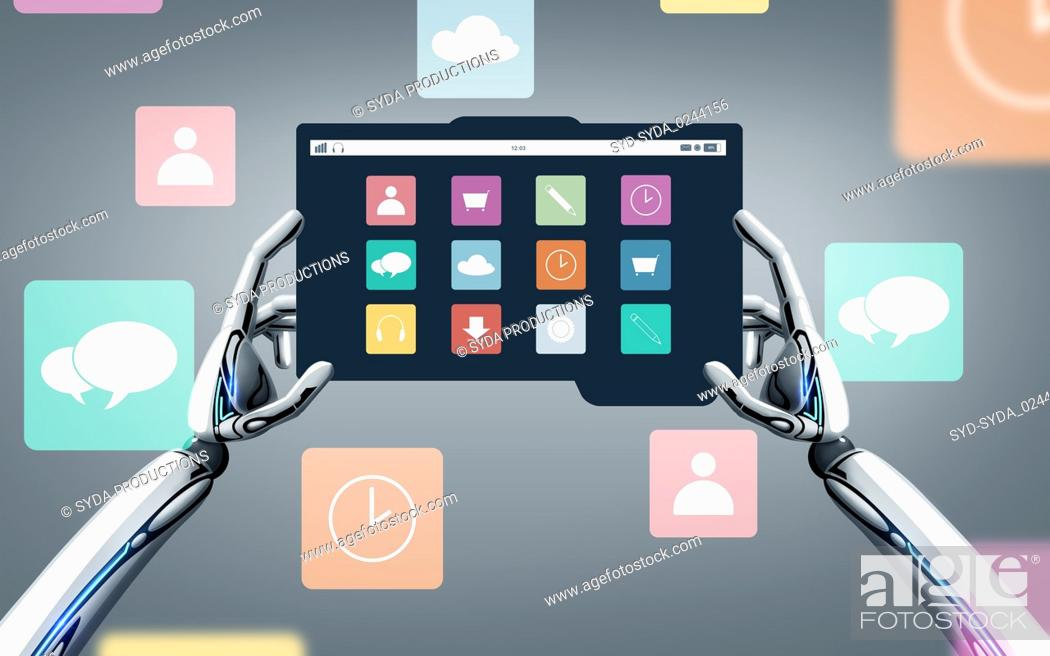 Stock Photo: robot hands with menu icons on tablet pc screen.