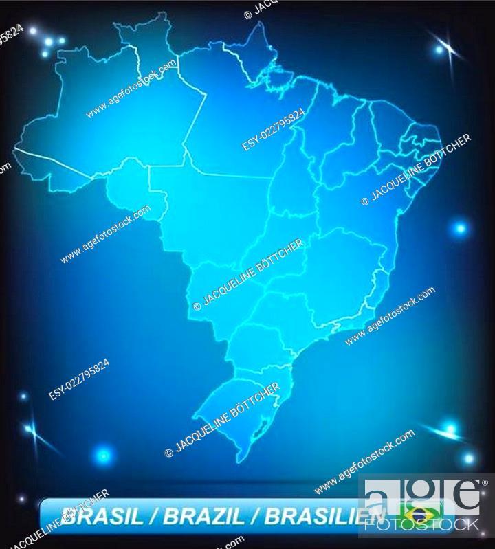 Stock Vector: Karte von Brasilien.
