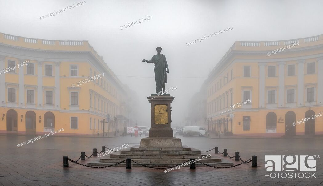 Stock Photo: Odessa, Ukraine. Monument to Duke Richelieu in Odessa, Ukraine, on a foggy autumn day.