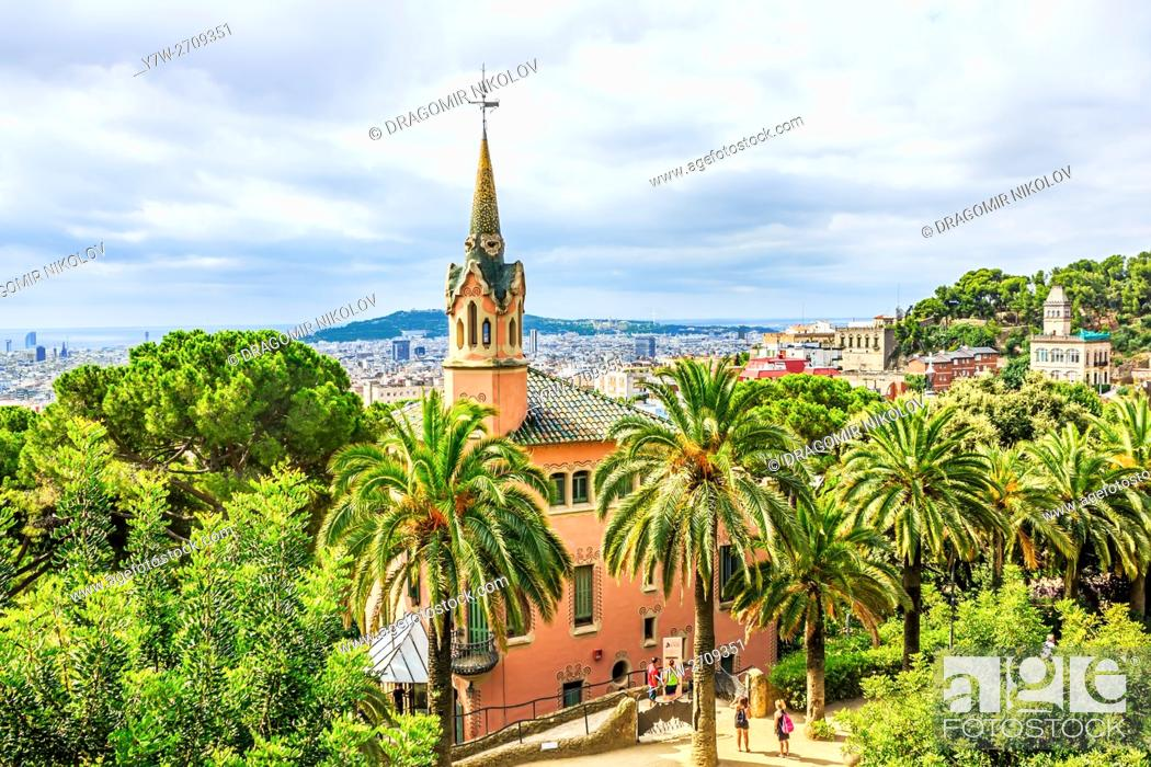 Stock Photo: Park Guell, a garden with architectural elements designed by Antoni Gaudi. Built in 1900 - 1914. Part of UNESCO World Heritage.