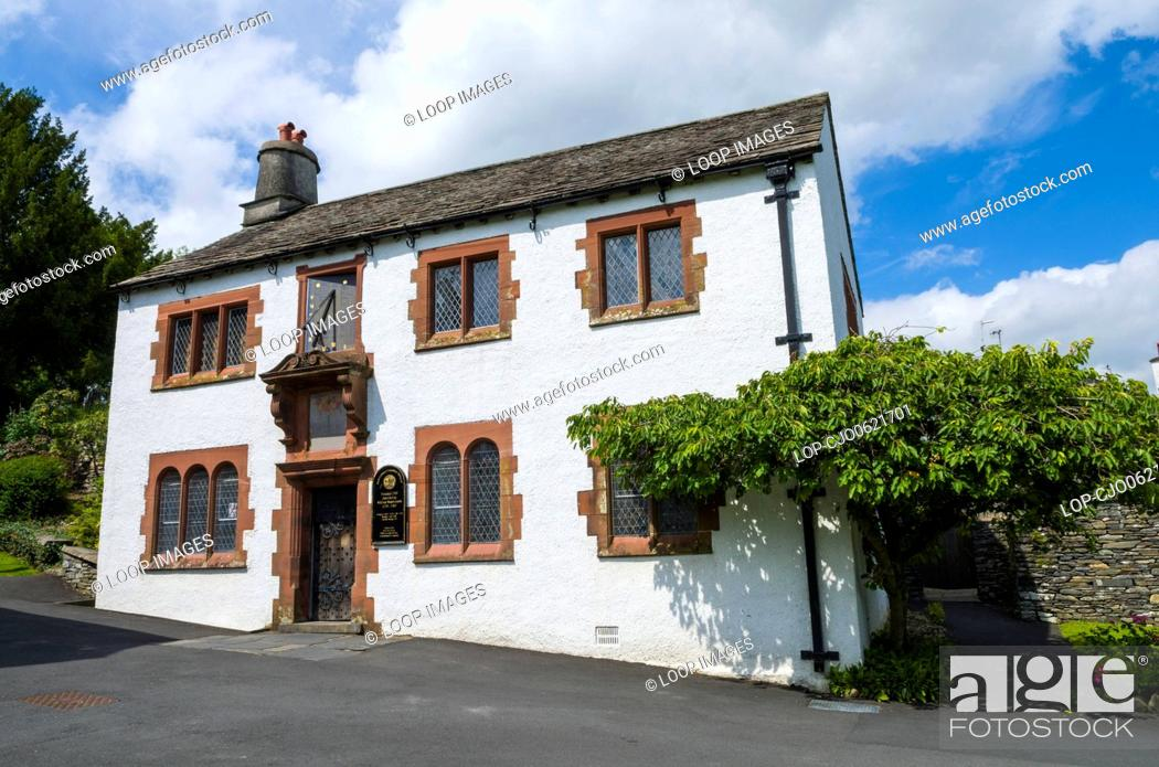 Stock Photo: Hawkshead Grammar School which was the former school of the poet William Wordsworth in the English Lake District National Park.