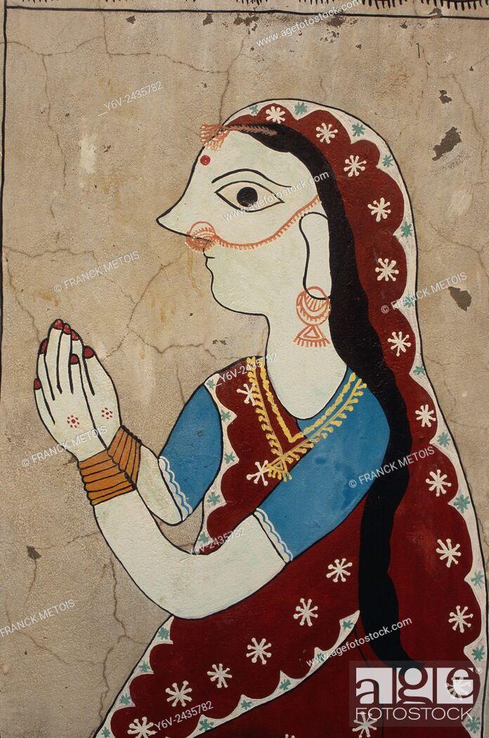 Stock Photo: Maithili painting depicting a woman ( Janakpur, Nepal).