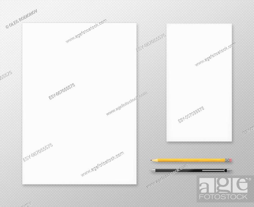 Stock Photo: Office Supplies for Designers Presentations and Portfolios. Above view.
