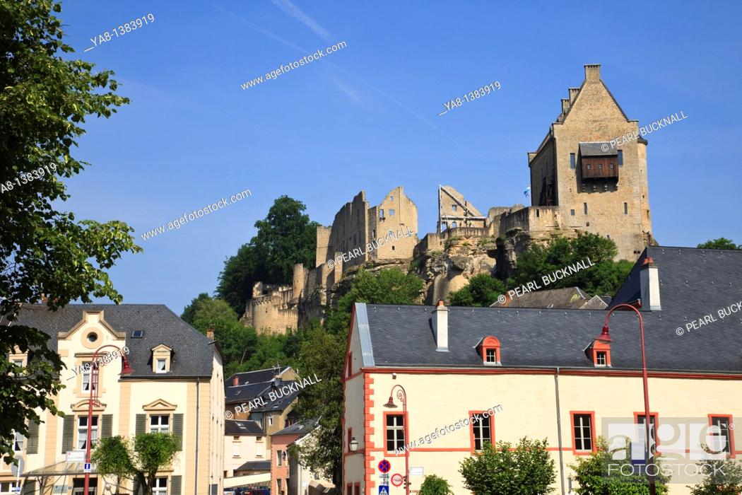Stock Photo: Larochette, Grand Duchy of Luxembourg, Europe  Maison de Crehange medieval castle ruins on a rock outcrop above the town.
