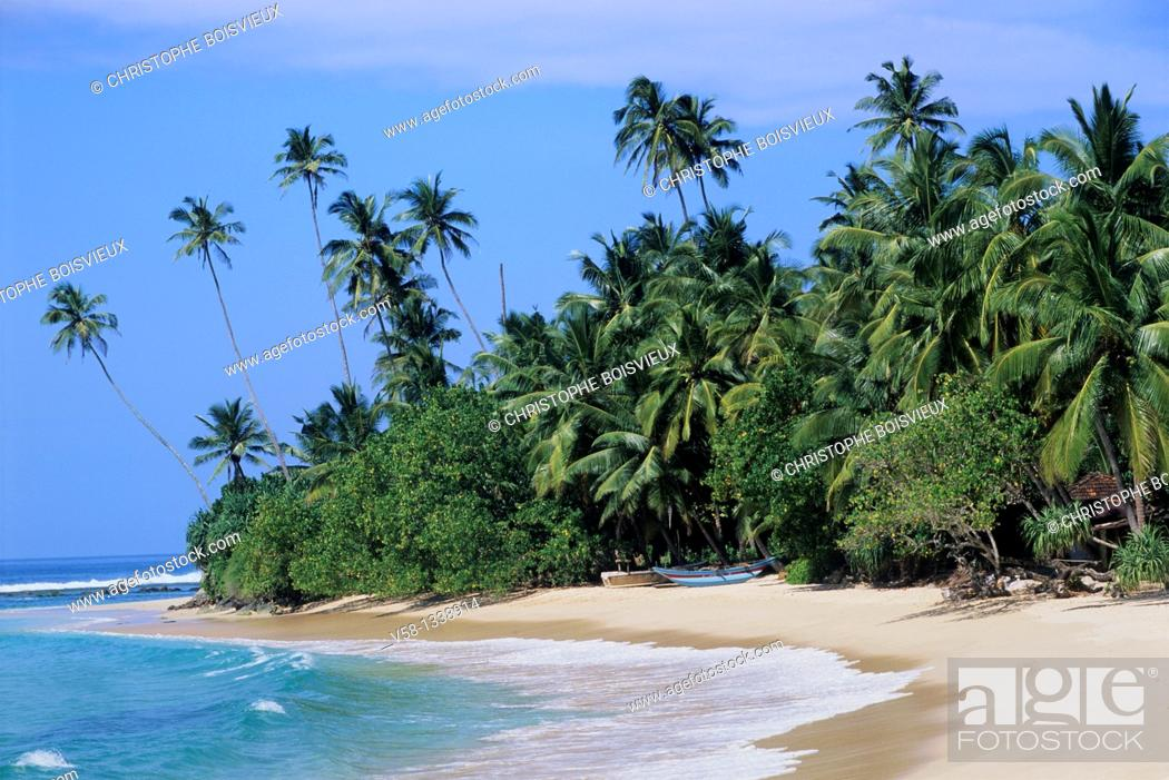 Stock Photo: Sandy beach, Unawatuna region, Sri Lanka.