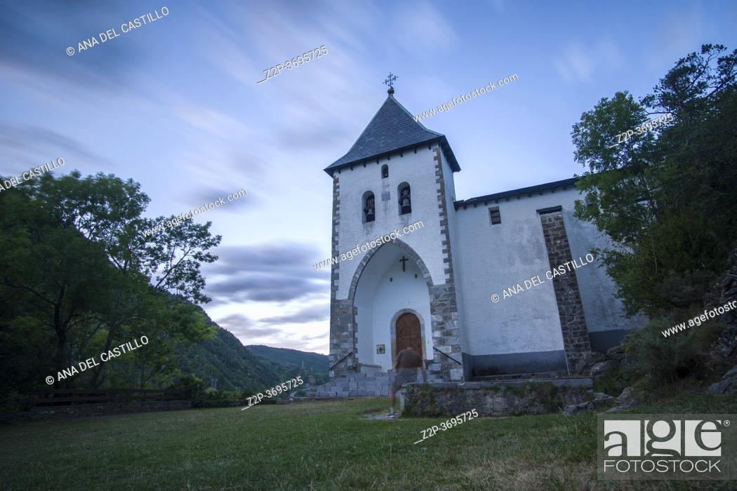 Stock Photo: Santa Elena Hermitage, Biescas in Tena Valley, Pyrenees, Huesca Province, Aragon in Spain.