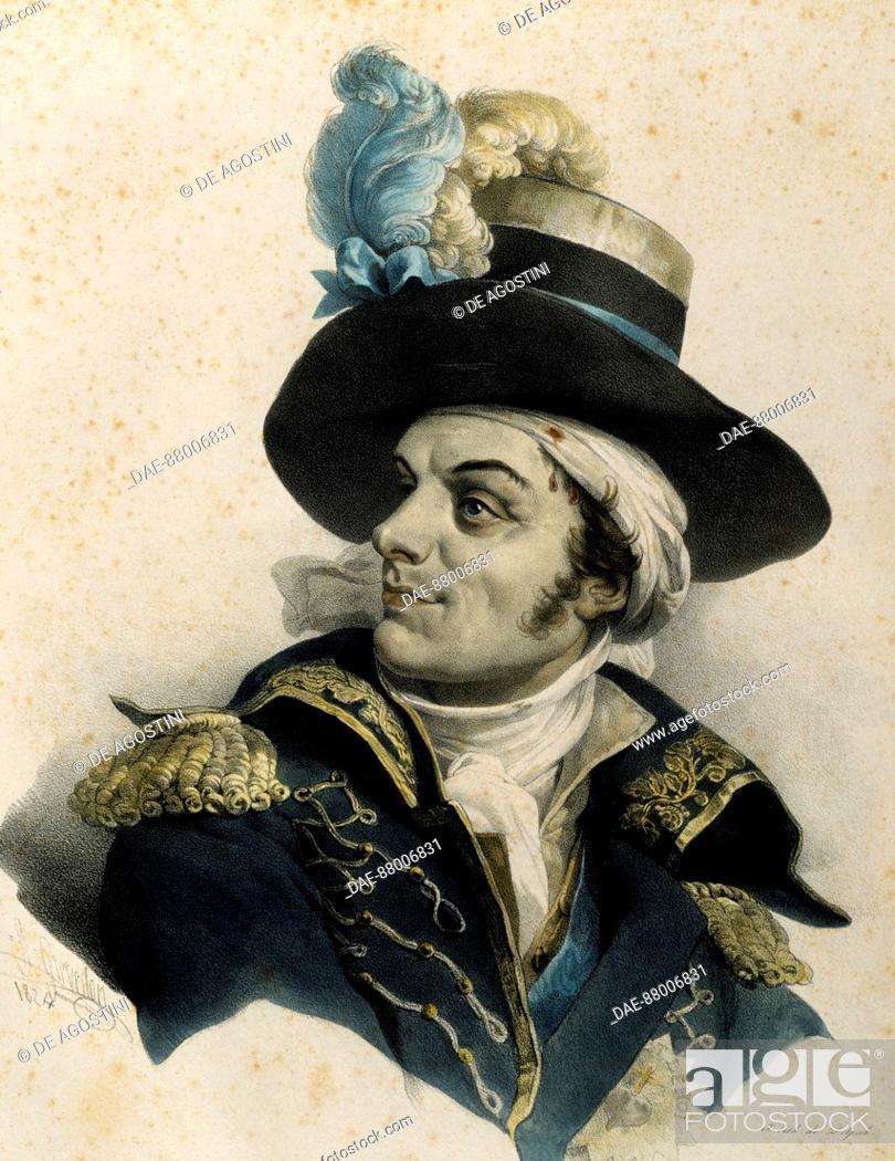 Stock Photo: Portrait of Francois de Charette (Couffe, 1763-Nantes, 1796), French general and politician.  Nantes, Musée Thomas Dobrée (Art Museum).
