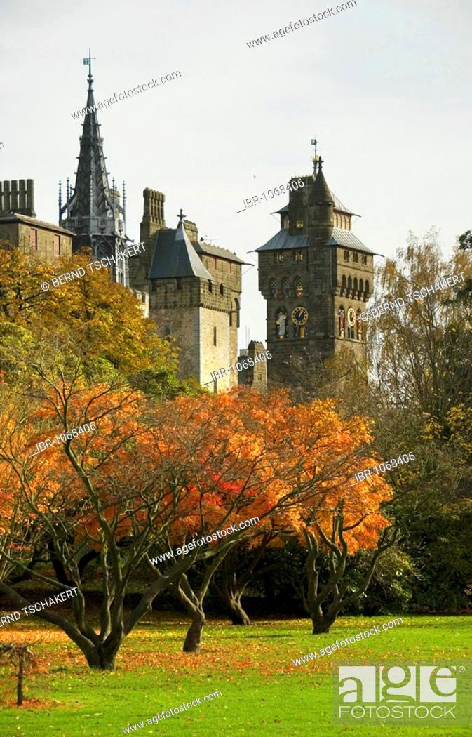 Stock Photo: Park, Cardiff Castle, Cardiff, Wales, Great Britain, Europe.